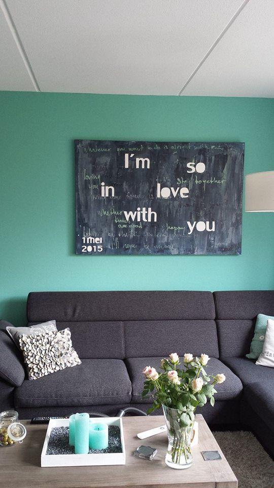Uniek huwelijkscadeau voor het bruidspaar. Een schilderij met de songtekst van het favoriete nummer van het paar.