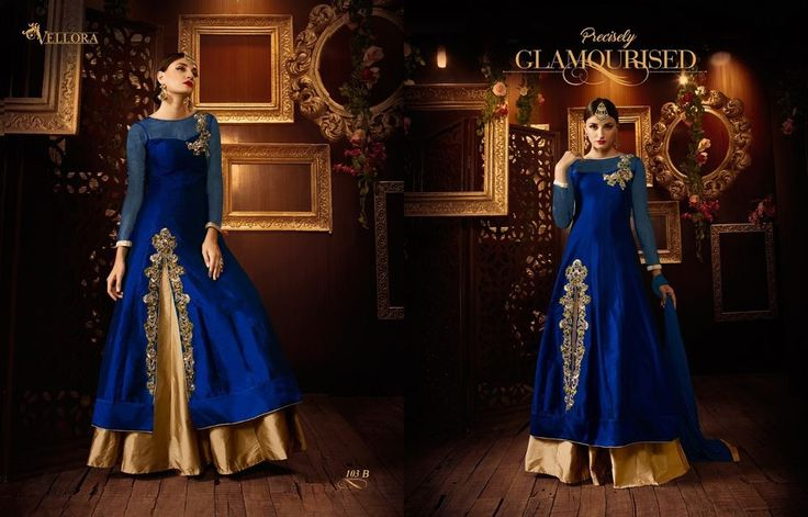 Ethnic Empire Latest New Designer Blue Tapetta Silk Long Anarkali Suits | eBay
