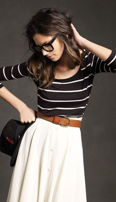 black & white striped sweater + white full skirt + tan belt