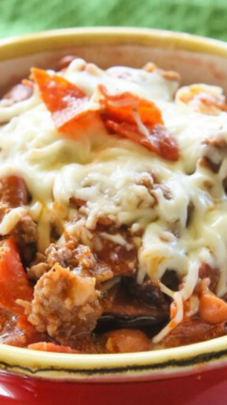 Pizza Chili ~ a hearty dish filled with beef, sausage, pepperoni, and green peppers simmering in a salsa pizza sauce.