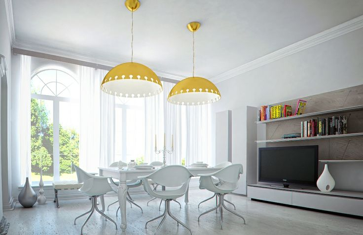 Quito Gold Ceiling Lamp. The perfect pendant lighting solution for a modern style home. the Italian design plastic white chair and the arch wood white windows are complimented with the arch pendant gold lamp. The TV media unit is a modern white carpentry design made by an expert carpenter. The see through white curtains are adding softness and the classic white table is creating an eclectic style interior design.