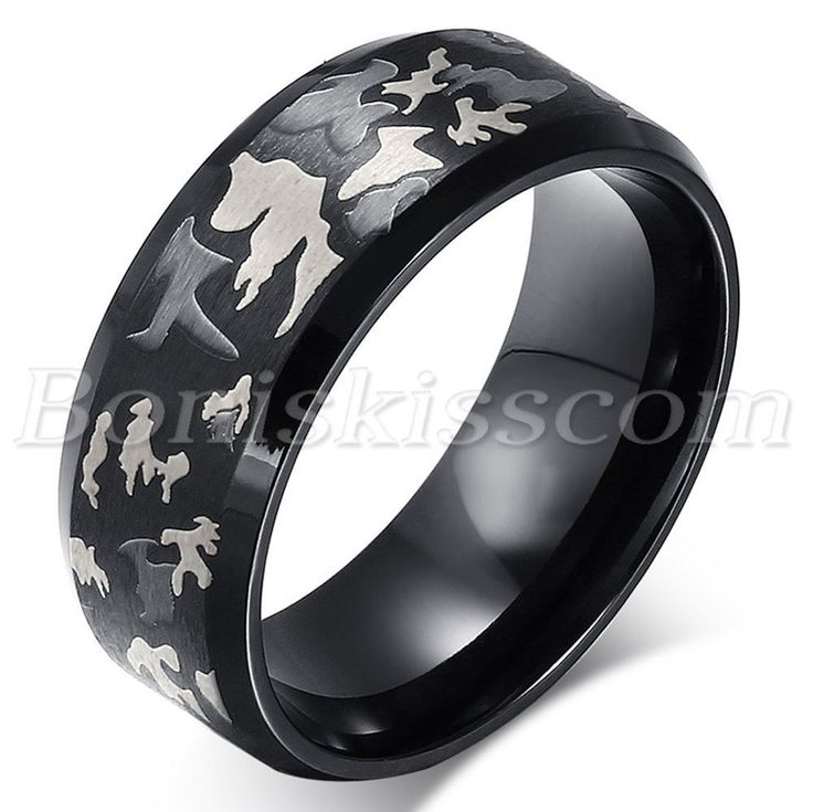 Men Unique Black Stainless Steel Hunting Camouflage Camo Design Ring Band 9#-13# #Unbranded #Band