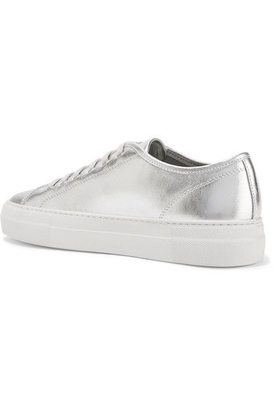 Common Projects - Tournament Metallic Leather Sneakers - Silver - IT39