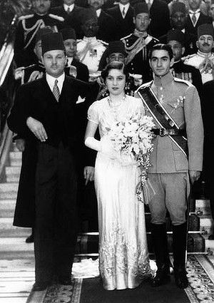 Princess Fawzia of Egypt marries the Shah of Iran. Her brother, King Farouk of Egypt stood by her side
