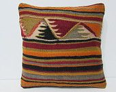 kilim pillow antique cushion cover 16x16 throw pillow kilim bohemian design bohemian pillow case crochet pillow cover antique tapestry 24699