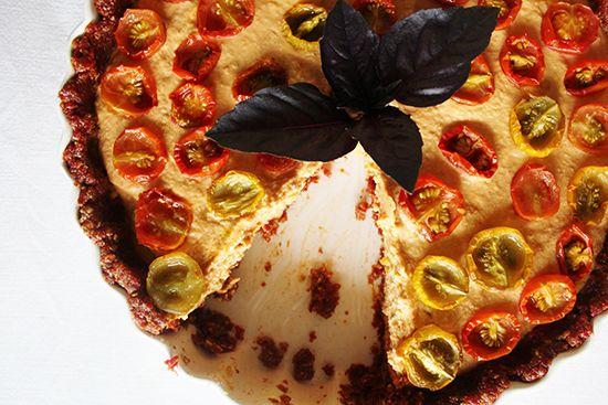 Tomato Tart with Zucchini Hummus & Sun-dried Tomato Crust