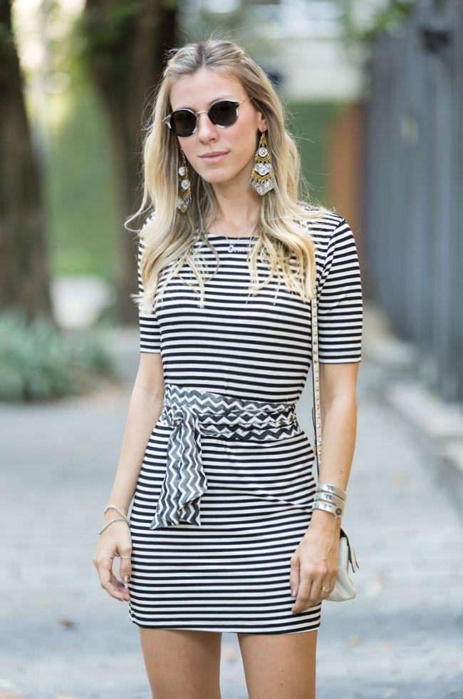 vestido-listras-meia manga-preto-branco-curto