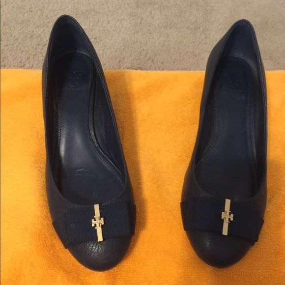 Tory Burch navy wedges A modern classic: Chic for the office, after-work events …