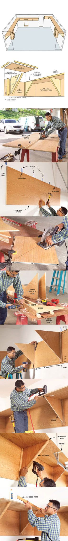 Did you know that an average garage has 150 square feet of unused space. Learn how to build a storage system that uses this unused space at http://www.familyhandyman.com/DIY-Projects/Home-Organization/Garage-Storage/garage-storage-ideas-find-unused-space/View-All