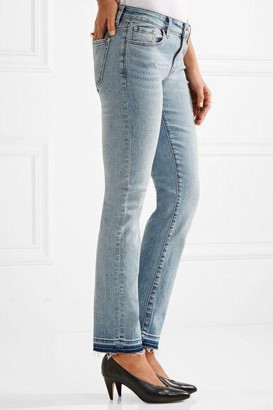 J Brand - Amelia Frayed Mid-rise Slim-leg Jeans - Light denim - 31
