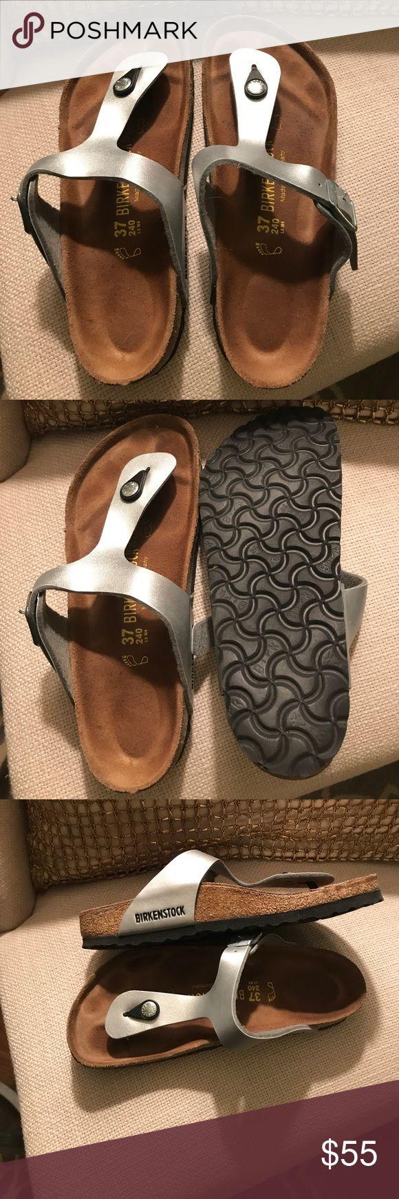 Birkenstock metallic sandals Silver Birkenstock Gizeh size 7; like new- only worn one season Birkenstock Shoes Sandals