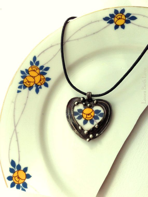 Broken China Jewelry Heart Pendant necklace antique porcelain Art Nouveau yellow roses by Laura Beth Love