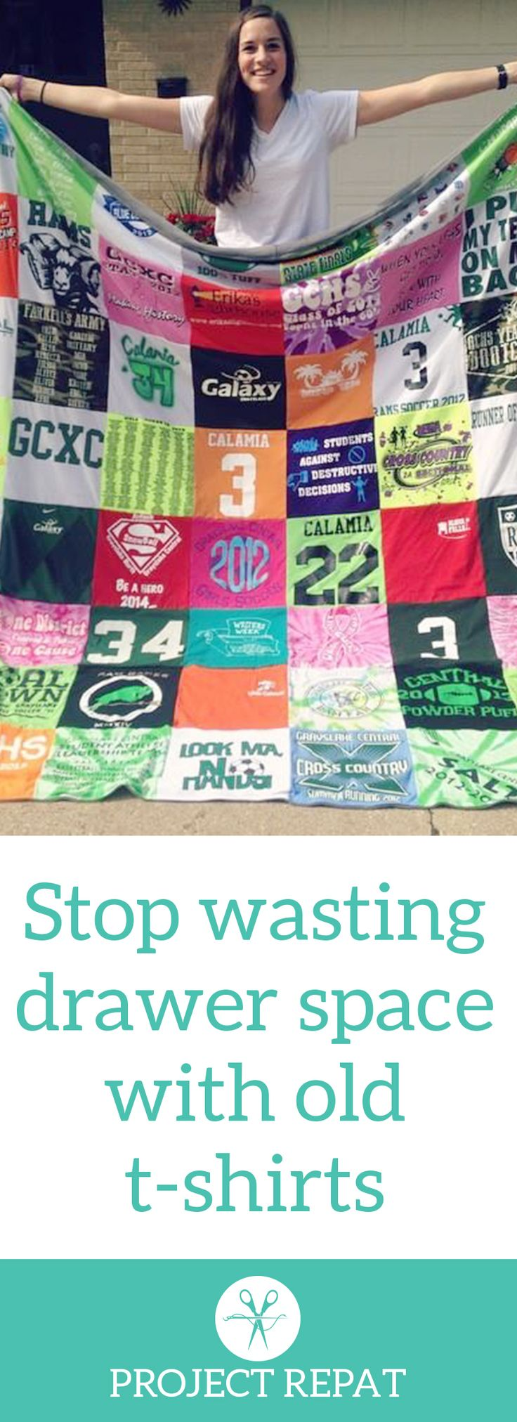 Every t-shirt quilt has a unique story to tell — what will yours say? Learn more about how you can turn t-shirts into a great conversation starter with Project Repat. https://www.projectrepat.com/?utm_source=Pinterest&utm_medium=3.8P