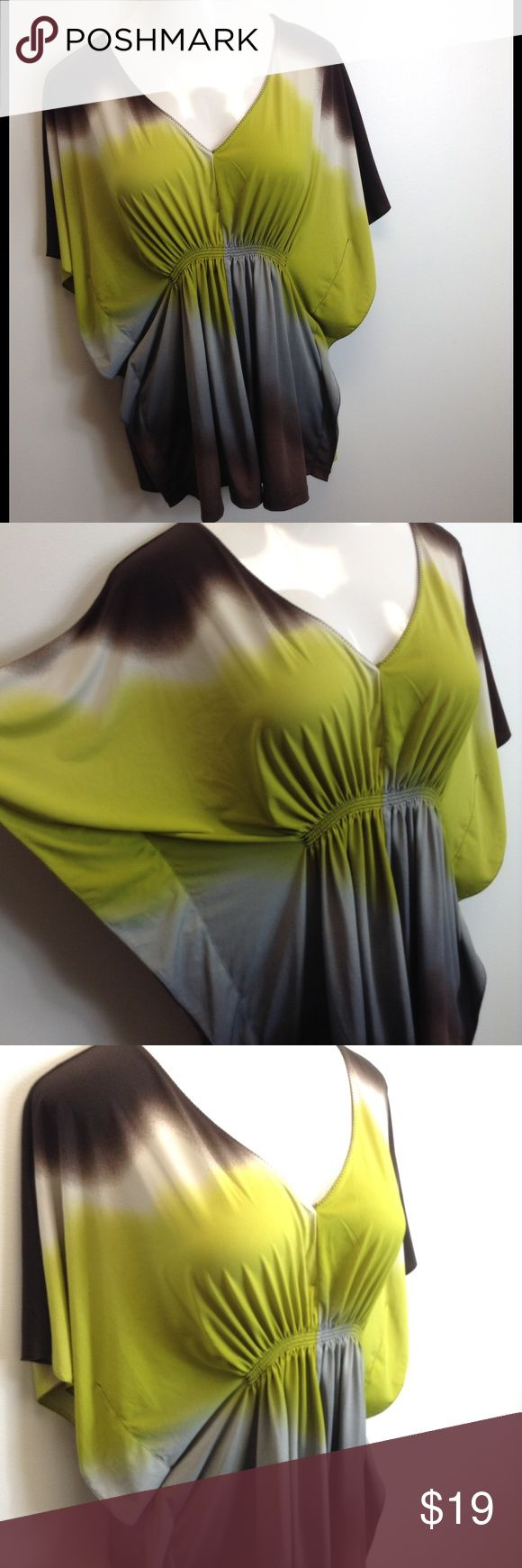 ➕ XL Worthington Dolman Dressy Top This gorgeous top has a silky feel and can be dressed up or down.  Pair with chunky jewelry, leggings and boots for a night on the town!  Brown, gray and olive make a striking combination.  95% polyester, 5% spandex.  Plenty of stretch hugs curves while camouflaging the tummy. Worthington Tops Tunics