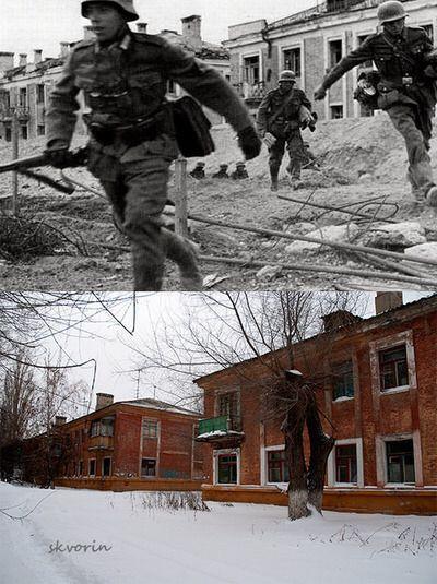 Stalingrad then and now.  These apartment buildings are west of Ulitsa Marshala Eremenko, between Atlasova & Tarifnaya.