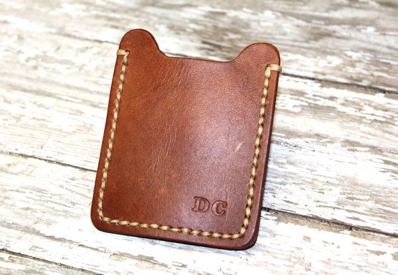Leather Money Clip Wallet, Minimalist Clip Wallet, Father's Day Gift, Personalized Monogram Initials Money Clip Wallet, Hand Sewn,