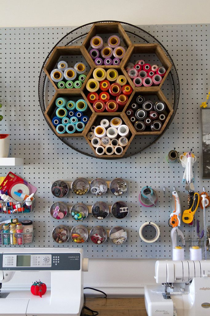 Check out this creative home office tour by Andrea's Notebook blog! Loving the 7-hexagon storage! So pretty!