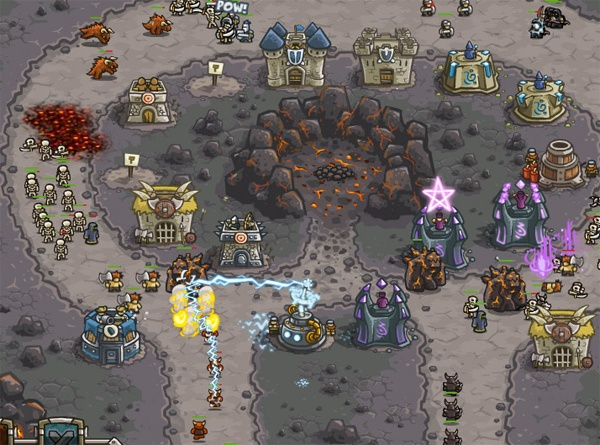 An Epic Fantasy Action Defense — Kingdom Rush!  Kingdom Rush is a new tower defense game maybe the best defense and fantasy – strategy game of all the time and the most rated game ever already:  4 Tower Types, 8 Specialized Towers, 18 Tower Abilities, 2 Global Spells, Fully Illustrated Stages, Over 30 Enemies to Defeat, Customizable Towers, +50 Achievements and the Fantasy Encylopedia. http://www.gaminima.com/defense/kingdom-rush/