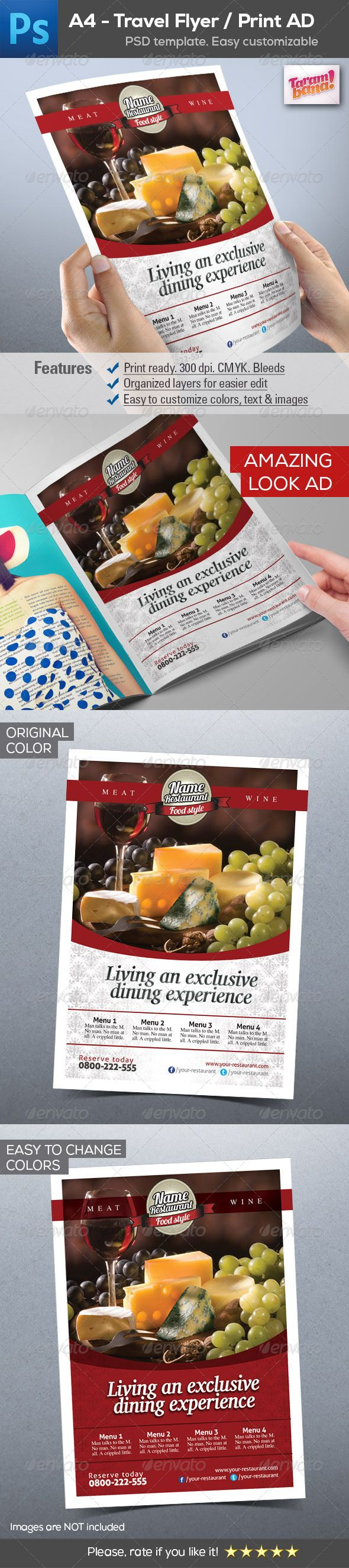 images about graphicriver layout template a4 restaurant flyer print ad layout