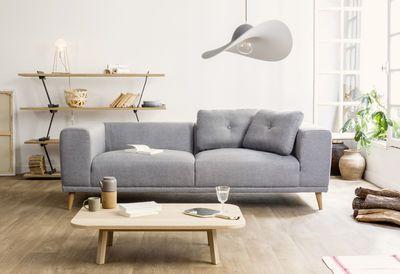 Canapé droit Welly / 3 places - L 223 cm Gris flat / Pieds bois - ENOstudio