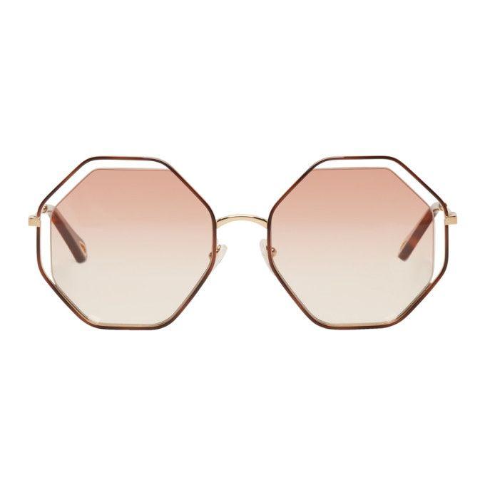 299ec73bfdc CHLOÉ Gold   Pink Hexagon Sunglasses.  chloé