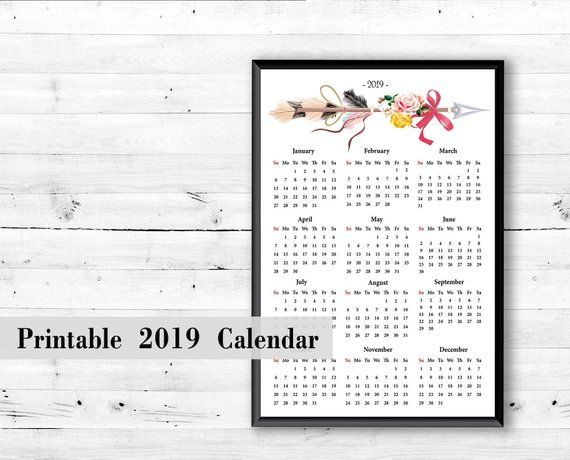 Wall Calendar 2019 Print At Home Print Digital Calendar Boho Print