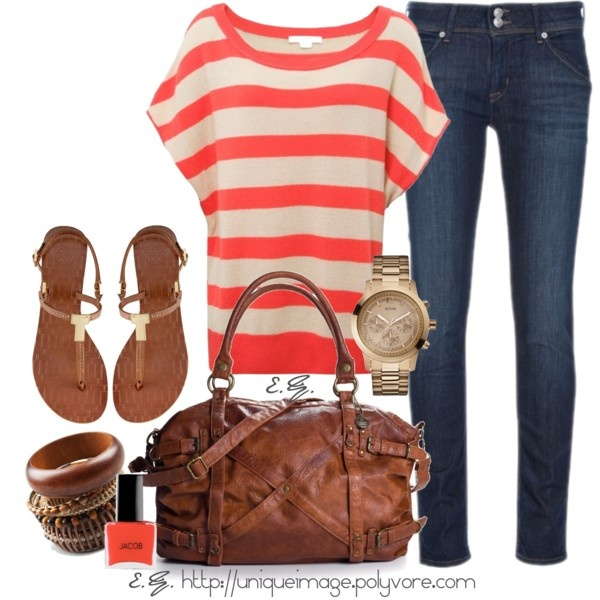 Cute... especially the bag: Summer Styles, Coral Stripes, Shirts, Stripes Tops, Summer Trips, Dark Jeans, Cute Outfit, Spring Outfit, Everyday Outfit