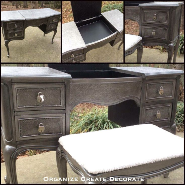 Beautiful painted desk and small bench seat by Organize Create Decorate using The Couture Coolection!(TM) - Paint Couture!(TM)
