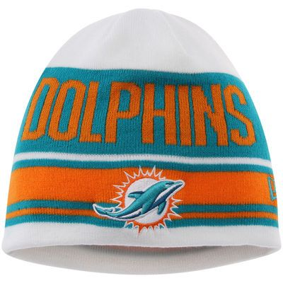 Miami Dolphins New Era Snow Top Knit Beanie - White