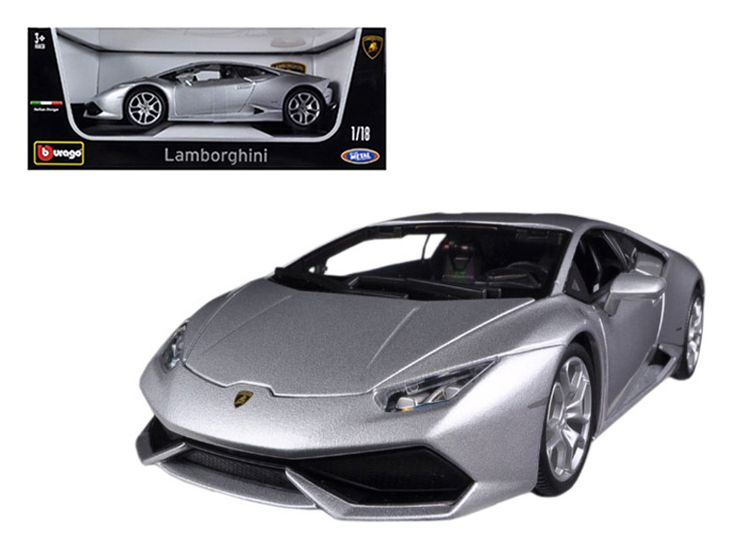 Lamborghini Huracan LP610-4 Silver 1/18 Diecast Car Model by Bburago - Brand new 1:18 scale diecast car model of Lamborghini Huracan LP610-4 Silver die cast car model by Bburago. Rubber tires. Steerable wheels. Brand new box. Has opening hood, doors and trunk. Detailed interior, exterior, engine compartment. Dimensions approximately L-10.5, W-4, H-3.25 inches. Please note that manufacturer may change packing box at anytime. Product will stay exactly the same.-Weight: 4. Height: 8. Width: 15…