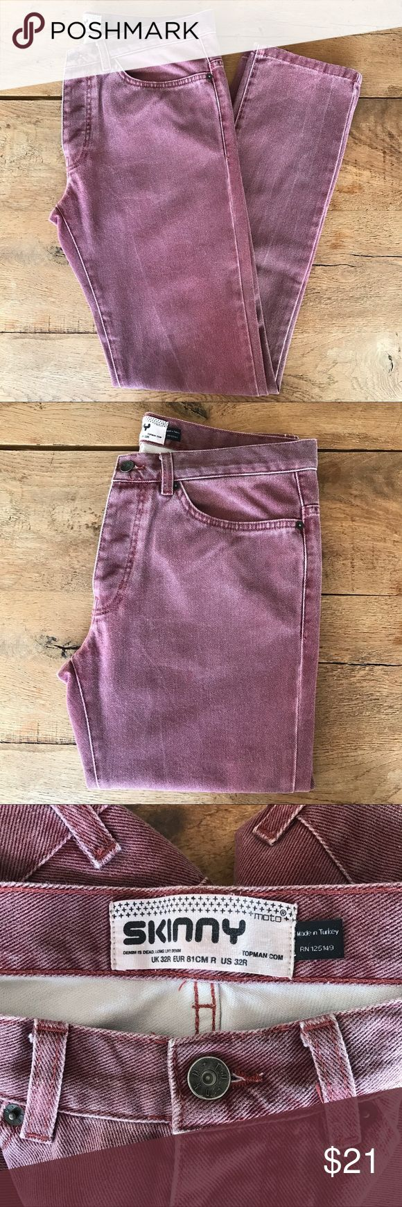 """Topman Skinny Jeans Topman """"skinny moto"""" jeans in a faded maroon wash. 4-button fly. 31"""" inseam, 12"""" ankle opening. Some stretch to the denim fabric. Good used condition. Topman Jeans Skinny"""
