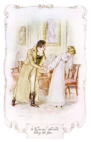 """No, no, no!"", she cried, hiding her face. - Illustration from Persuasion, an unwanted proposal"