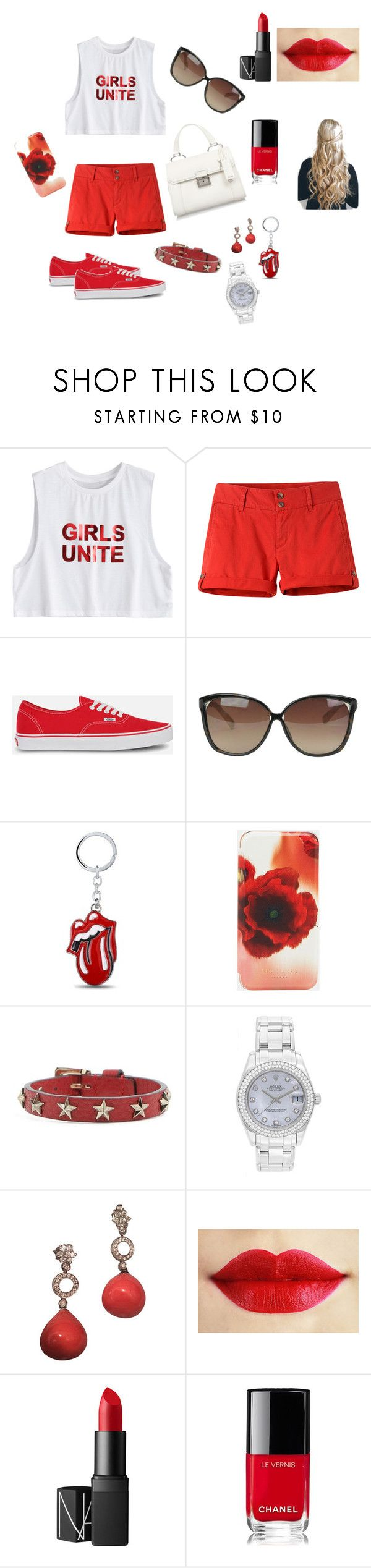 """""""Caitlin: girls night out!"""" by allihelms on Polyvore featuring Mountain Khakis, Vans, Linda Farrow, Ted Baker, RED Valentino, Rolex, NARS Cosmetics, Chanel and Miu Miu"""