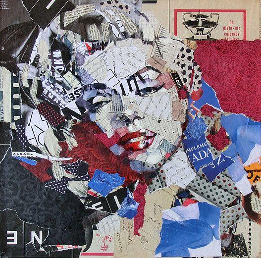 Carme Magem, collages de artistas de cine, Audrey Hepburn, Marylin Monroe, Pablo Picasso, Grouxo Marx, John Lennon, Ava Gardner,