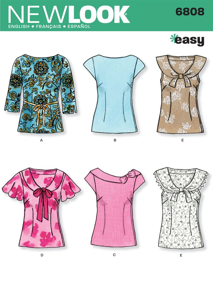 Womens Easy Tops Sewing Pattern 6808 New Look