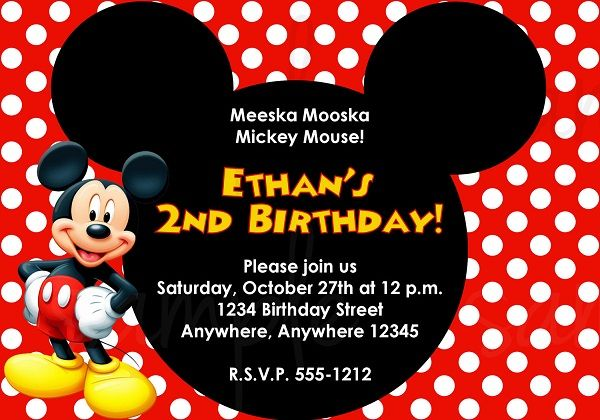Mickey Mouse St Birthday Invitations Ideas  Mickey Mouse