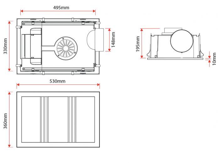 Kado Lux 3 in 1 Heat Lamp Exhaust Silver (Specs)