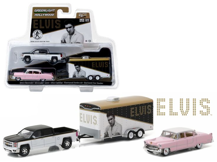 "2015 Chevrolet Silverado 1500 and 1955 Cadillac Fleetwood Series 60 ""Pink Cadillac"" Elvis Presley (1935-77 ) in Enclosed Car Hauler 1/64 Diecast Model Cars by Greenlight - Brand new 1:64 scale car models of 2015 Chevrolet Silverado 1500 and 1955 Cadillac Fleetwood Series 60 ""Pink Cadillac"" Elvis Presley (1935-77 ) in Enclosed Car Hauler die cast car models by Greenlight. Limited Edition. Detailed Interior, Exterior. Metal Body. Comes in a blister pack. Officially Licensed Product. Dimensions…"