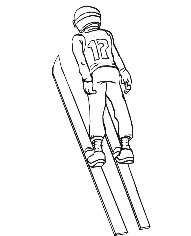 Skiing Coloring Page | A Competitive Ski Jumper