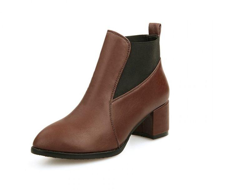 Ботинки PU Коричневый толстый каблук туфли на высоком каблуке плюс размер 40 41 42 43 двориков обувь 32 33 высокий каблук 6 СМ Толстый каблук EUR 31-43