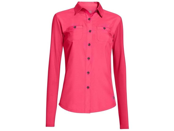 Under Armour Women's ISO-CHILL Amalgam Button Front Neon Pink Long Sleeve Shirt #UnderArmour #ButtonFrontShirt