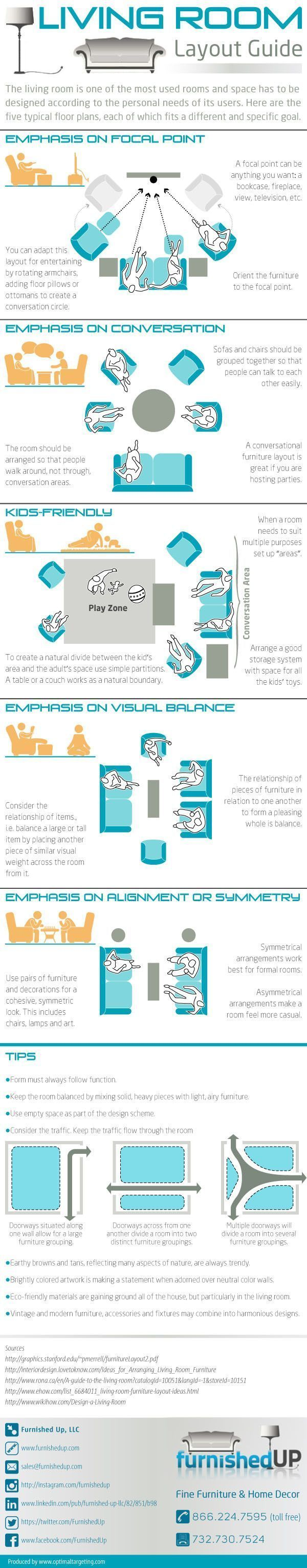 There are many ways to make your living room work for you and your loved ones while being a beautiful space that makes you want to stay in it for long periods. Learn more tips on living room layouts with this new and helpful infographic from Furnished Up, makes of fine furniture and home decor today.