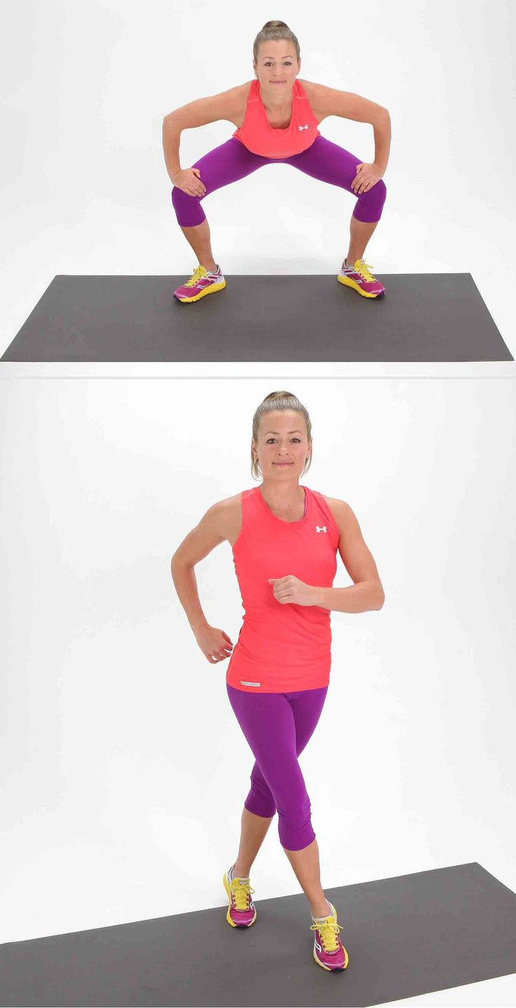 Ce tronçon interne de la cuisse profonde tonifie vos muscles fessiers, les quadriceps et les deux cuisses extérieures et intérieures, et il obtient également votre rythme cardiaque! Vérifiez ce GIF démontrer ce mouvement dans l'action .  Commencez par vos pieds dans une grande, deuxième position position avec vos orteils légèrement vers l'extérieur. Pliez vos genoux et le bas dans un squat, en utilisant vos mains pour aider à pousser vos genoux écartés d'approfondir le tronçon intérieur de…