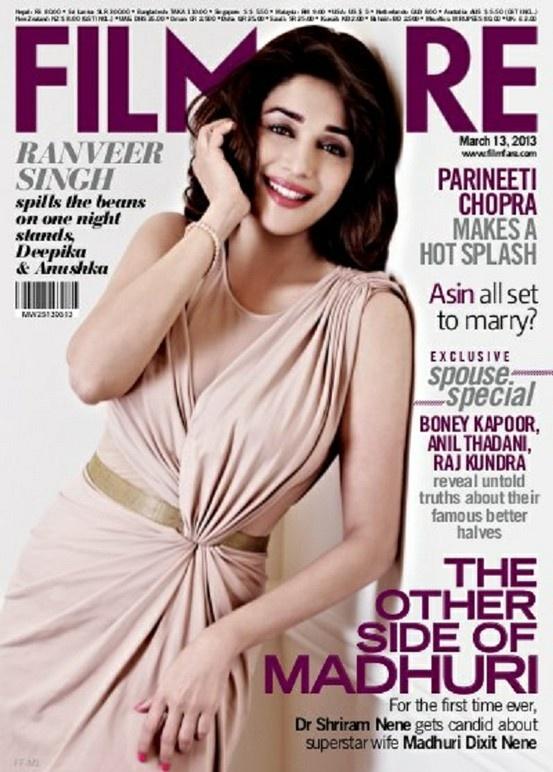 Madhuri Dixit Nene on The Cover of Filmfare Magazine - March 2013.