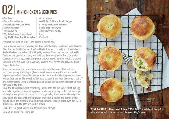 Nomu Recipe Cards Mini Chicken  Leek Pies