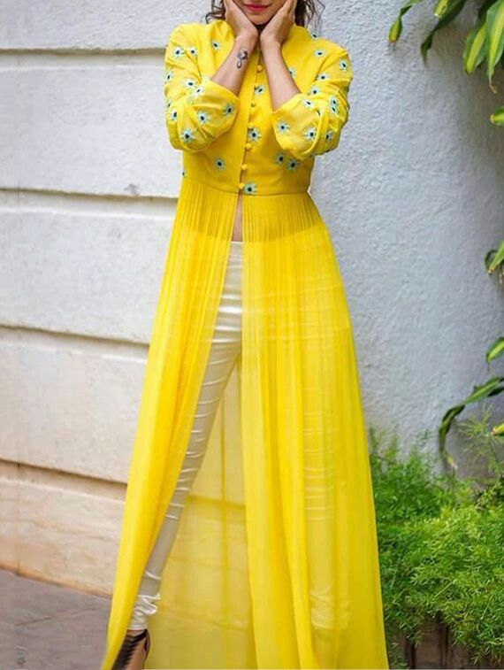 Checkout on Roposo.com - stiched designer dress with embroidered colour as per picture fabric Georgget and croma silk size customization available price 3200. contact number is 9716617285 or WhatsApp no.