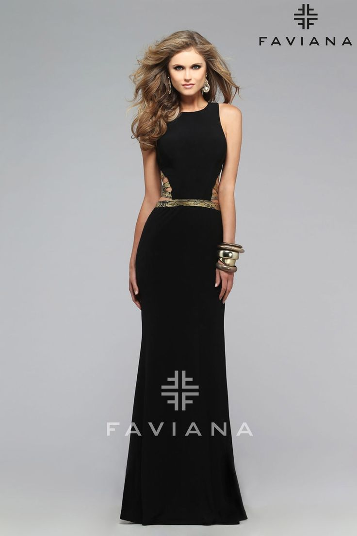 Faviana 7734 BLACK/GOLD Cut-Outs Prom Dresses, Formal Dresses, Love This Dress #ipaprom