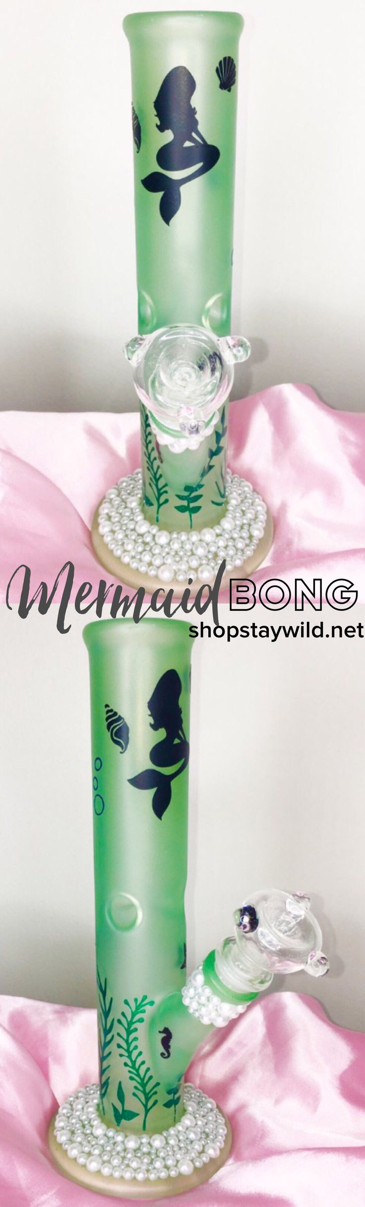 The mermaid bong is the color of sea glass and bedazzled with pearls. ✨ Girly, feminine bongs and pipes for women at www.shopstaywild.net  women love weed too! Beautiful cannabis accessories like grinders, stash jars, rolling papers, bubblers and hemp body-care made just for girly girls that enjoy marijuana.
