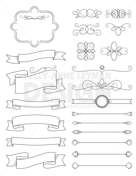 Digital Ribbon Clipart, Text Divider, DIY Invitation, Banner Clip Art, Flourish, Commercial Use, Digital Download Art, Vector Graphics