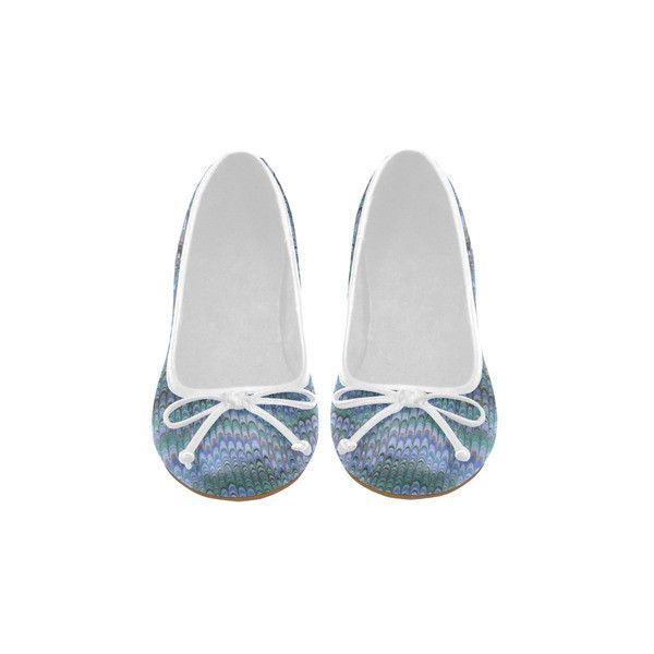 Mirrored Symmetry Turquoise Blues Juno Ballet Pumps (Model 312) ($54) ❤ liked on Polyvore featuring shoes, pumps, patterned pumps, ballet shoes, ballerina pumps, purple ballet shoes and green pumps